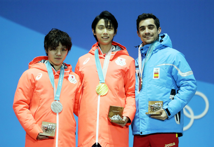 Medalists in the men's free figure skating (from left) Japan's Shoma Uno (silver), Japan's Yuzuru Hanyu (gold) and Spain's Javier Fernandez (bronze) pose during their medals ceremony at the 2018 Winter Olympics in Pyeongchang, South Korea on Saturday.