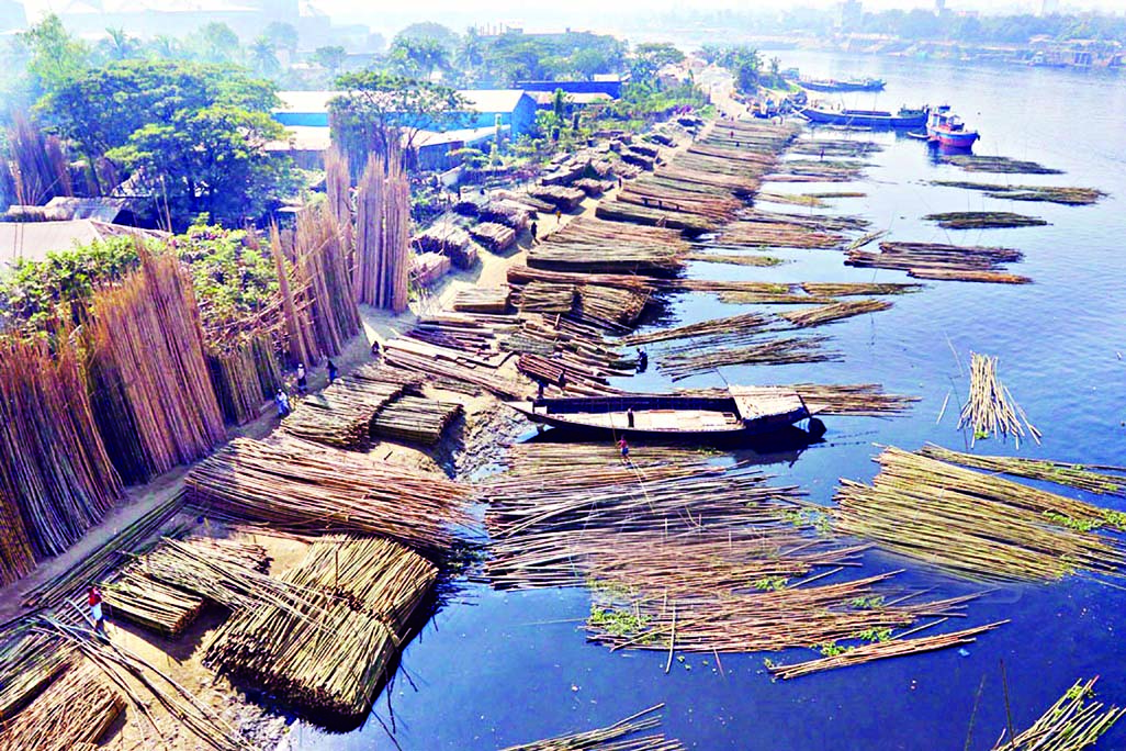 Sitalakkhya River waters are being polluted and stinky as bamboo trading goes on unabated near N'ganj Sultana Kamal Bridge. But the authorities concerned keep an eye shut to look into the matter. This photo was taken on Saturday.