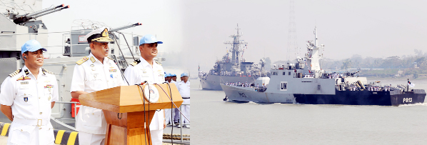 Area Commander of Chittagong Naval Rear Admiral M Abu Ashraf welcoming two war ships 'Ali Haider' and 'Nirmul' of Bangladesh Navy which  returned after serving UN Peace Mission in Lebanon on Sunday.