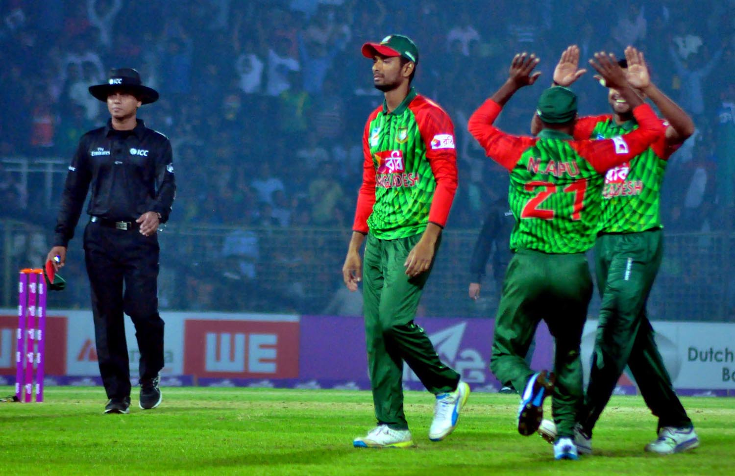 Players of Bangladesh Cricket team celebrating after dismissal of a Sri Lanka wicket during the 2nd Twenty20 International Cricket match between Bangladesh and Sri Lanka at Sylhet International Cricket Stadium in Sylhet on Sunday.