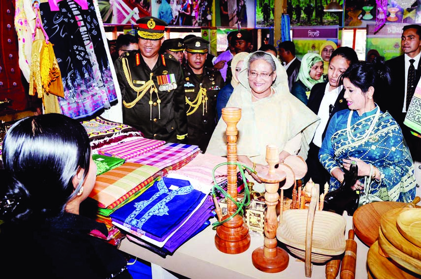 Prime Minister Sheikh Hasina visited different stalls installed on the occasion of 38th national congregation of Bangladesh Ansar and Village Defence Force at Safipur on Monday.