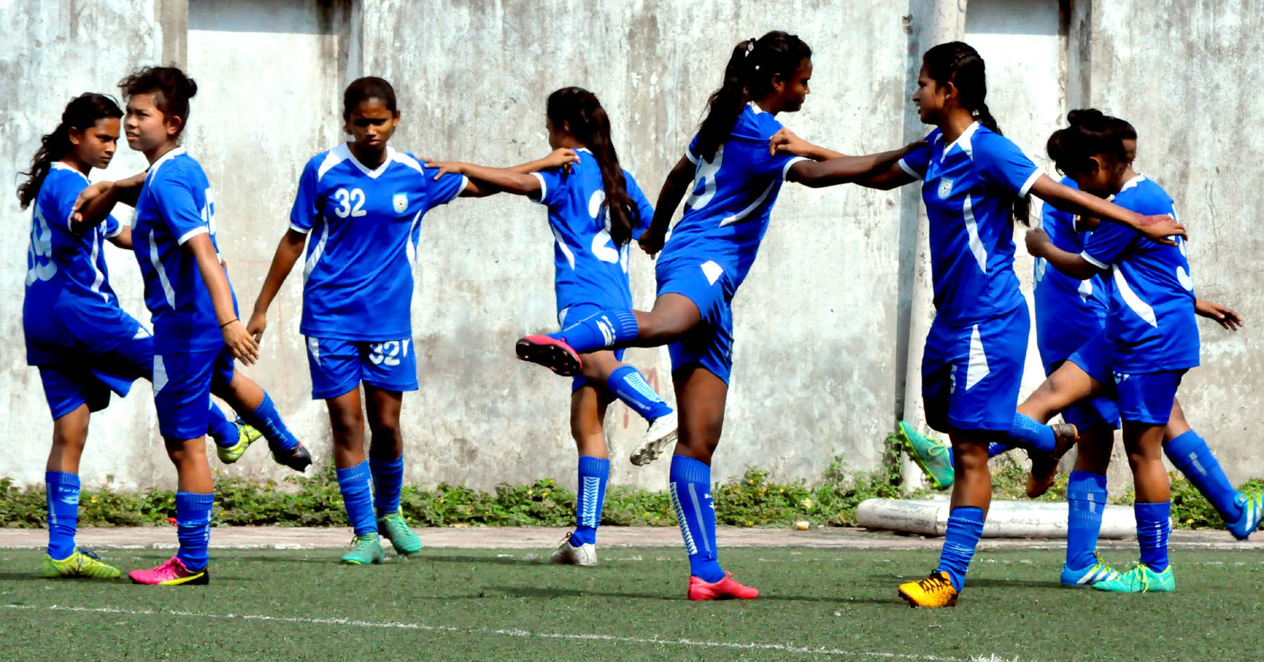 Players of Under-15 Football team during a practice session at the BFF turf in Motijheel on Monday.