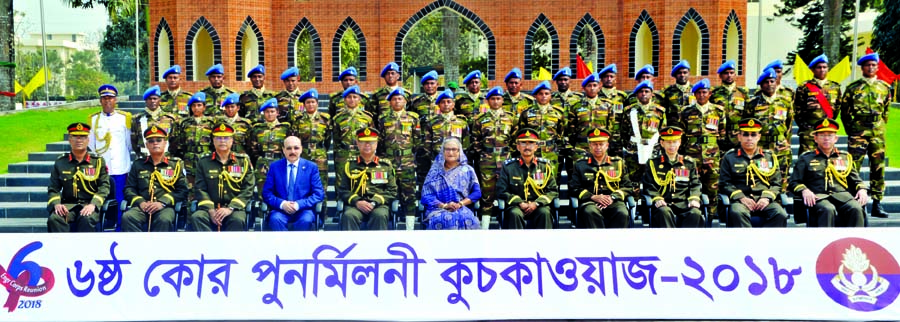 Prime Minister Sheikh Hasina at a photo session along with high army officials on the occasion of sixth reunion of Engineer Core of Army at Dayarampur Kadirabad Cantonment in Natore on Thursday.