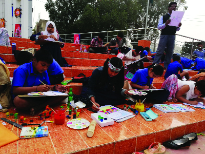 CHUADANGA: A painting competition of children was held at the Alamdanga Shaheed Minar on the occasion of the  International Mother Language Day  organised by Panchgram Mondal Committee on Wednesday.