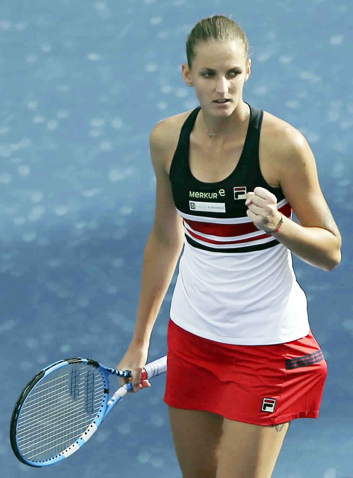 Karolina Pliskova of Czech Republic celebrates after she beats Carla Suarez Navarro of Spain during the Dubai Duty Free Tennis Championship in Dubai, United Arab Emirates on Wednesday.