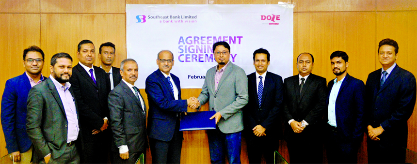 Southeast Bank Limited recently signed an agreement with SSD-Tech (Doze Internet), one of the most successful Online Payment Aggregators in Bangladesh. Under this deal, the Bank Credit Cardholders may avail 20pc discount on their monthly Internet subscription packages. S. M. Mainuddin Chowdhury, AMD, Md. Abdus Sabur Khan, Head of Cards of the bank and Hasan Mehdi, CEO of the Internet Company were also present.