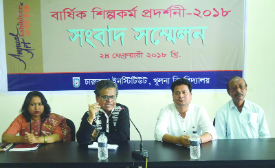 KHULNA: Prof Dr Ahmed Ahsanuzzaman addressing a press conference on 4-day long annual art exhibition organised by KU Art Department yesterday.