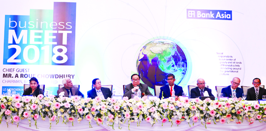 A Rouf Chowdhury, Chairman of Bank Asia Limited, presiding over its 'Business Meet-2018' at a city hotel on Saturday. Md. Arfan Ali, Managing Director, Mohd. Safwan Choudhury, Vice-Chairman, Rumee A Hossain, former EC Chairman, Mashiur Rahman, Audit Committee Chairman, M Irfan Syed, Risk Management Committee Chairman, M Shahjahan Bhuiyan and Romana Rouf Chowdhury, Directors of the bank among others were present.