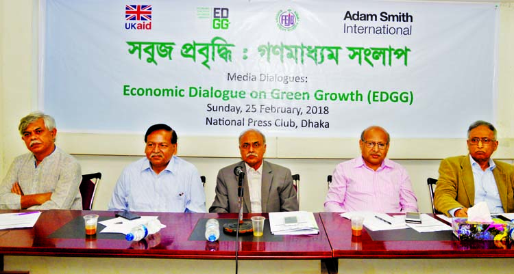Former General Secretary of the Jatiya Press Club Kamrul Islam, among others, at a dialogue on 'Green Growth and Media Dialogue' at the Jatiya Press Club on Sunday.