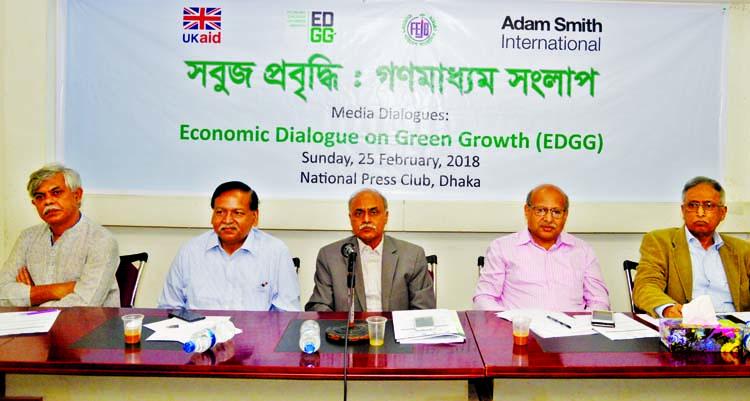Former General Secretary of the Jatiya Press Club Kamrul Islam, among others, at a dialogue on 'Green Growth and Media Dialogue' at the Jatiya Press Club on Sunday.