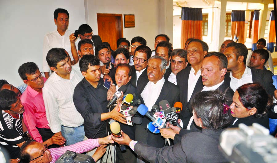 Lawyers of BNP Chairperson Begum Khaleda Zia briefing media people after hearing on bail of Khaleda Zia in Zia Orphanage Trust Graft Case coming out of the court on Sunday.