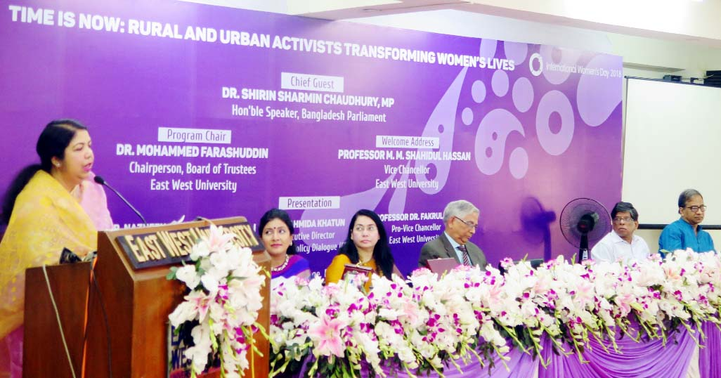Dr Shirin Sharmin Chaudhury, MP, Speaker of the National Parliament, speaks at a discussion program organized by East West University to celebrate International Women's Day in its campus at Aftabnagar in the capital on Monday.