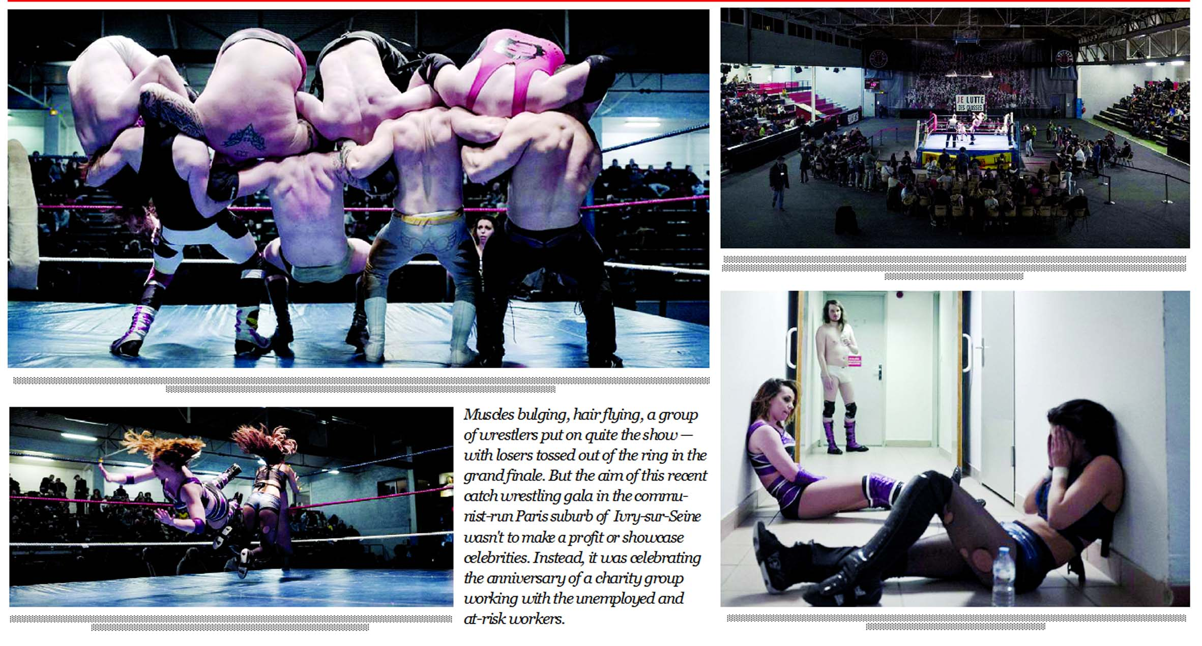 French wrestlers enter the ring for the unemployed