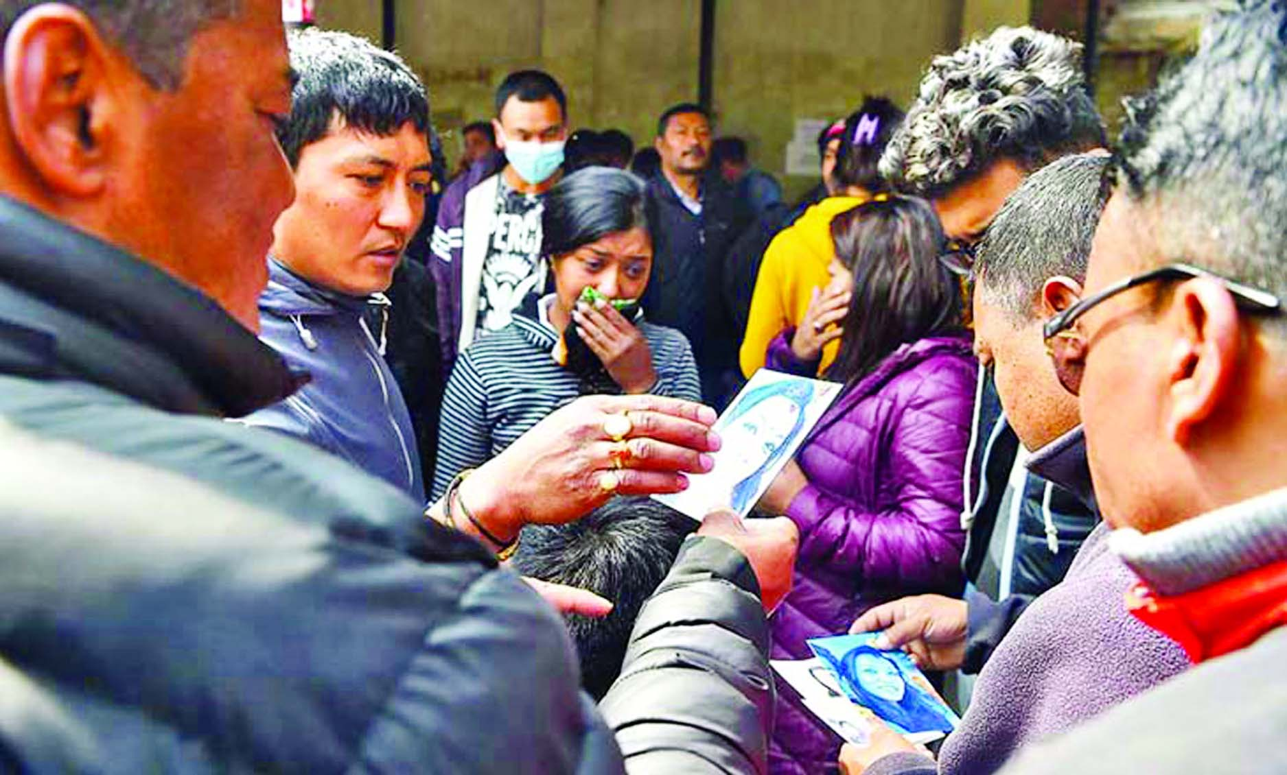 Relatives of victims of US-Bangla Aircraft disaster crowding in front of Kathmandu Medical College Teaching Hospital morgue on Thursday.