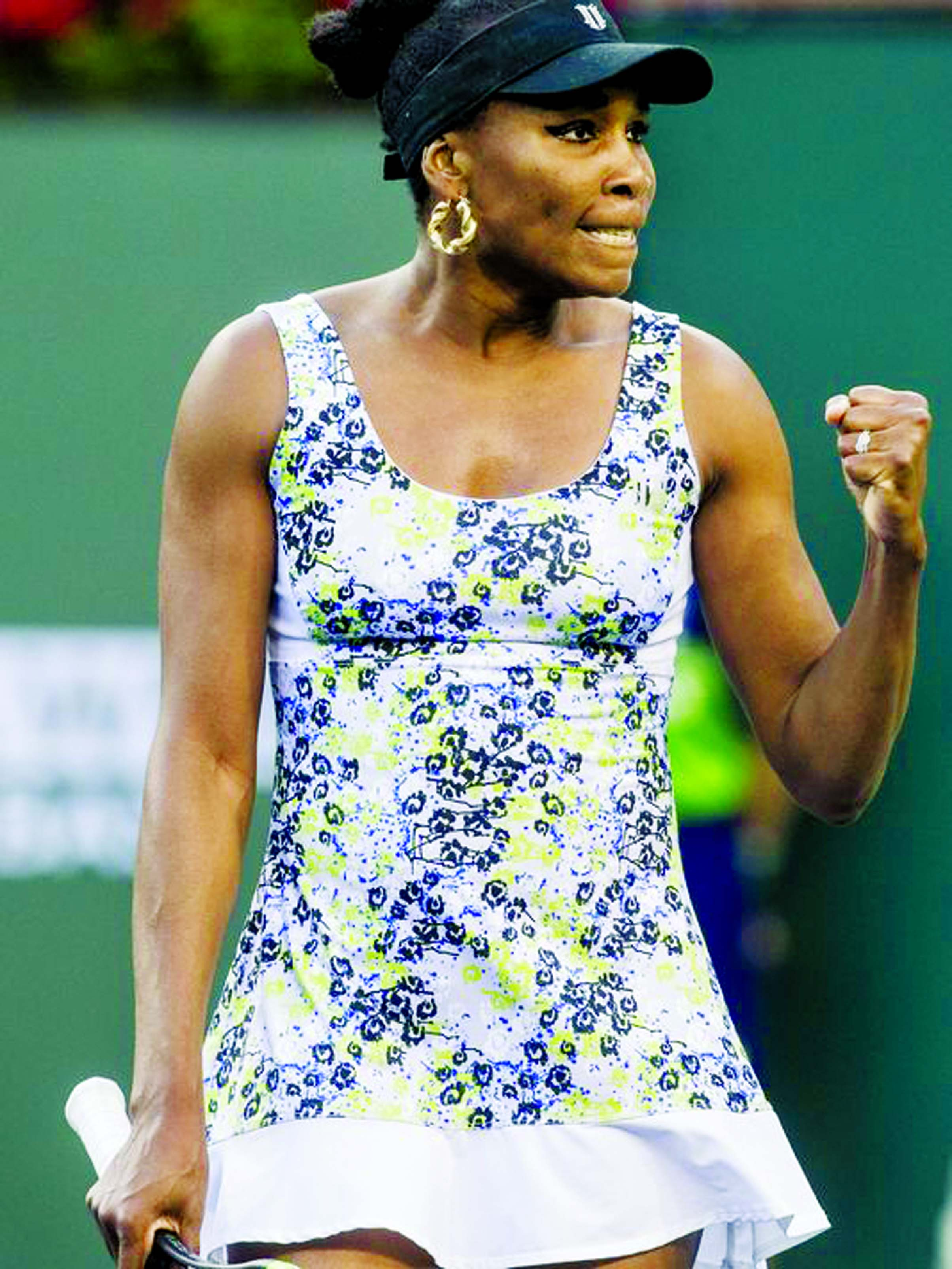 Venus Williams of the United States of America celebrates a break point against Carla Suarez Navarro of Spain on Stadium One during their quarterfinal match at the 2018 BNP Paribas Open at Indian Wells Tennis Garden on Thursday. Williams won the match 6-3, 6-2.