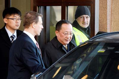 North Korean Foreign Minister Ri Yong-ho leaves the Swedish government building Rosenbad in Stockholm on Friday..