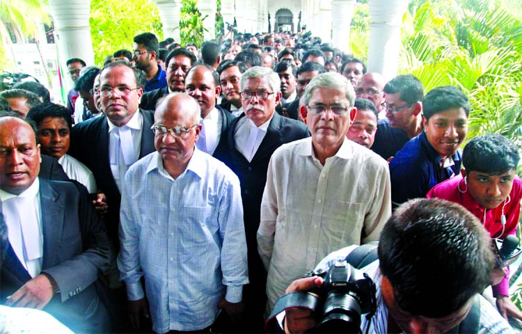 BNP Secretary General Mirza Fakhrul Islam Alamgir, senior leaders along with lawyers came out from the court premises just after hearing on Khaleda Zia