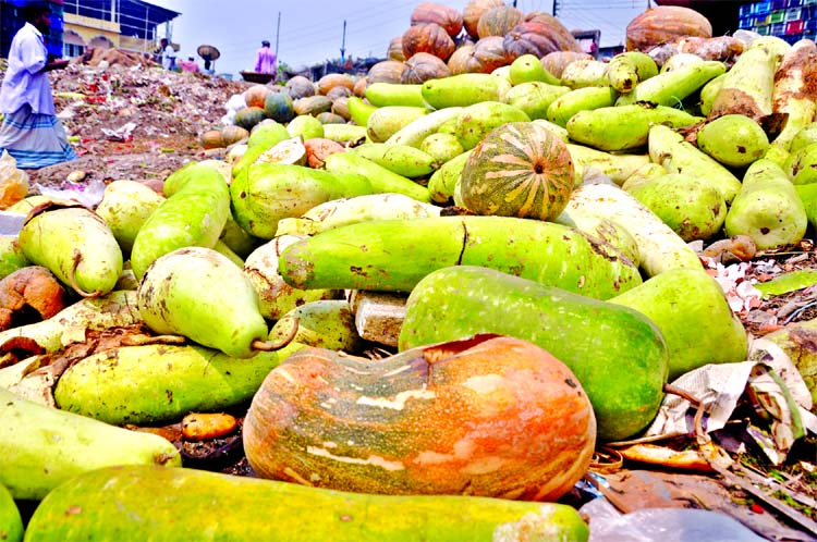 Small farm traders sufferings as half of the various kinds of fruits and vegetable being rotten under the open sky after harvesting due to lack of store house. This photo was taken from Shyambazar area on Sunday.