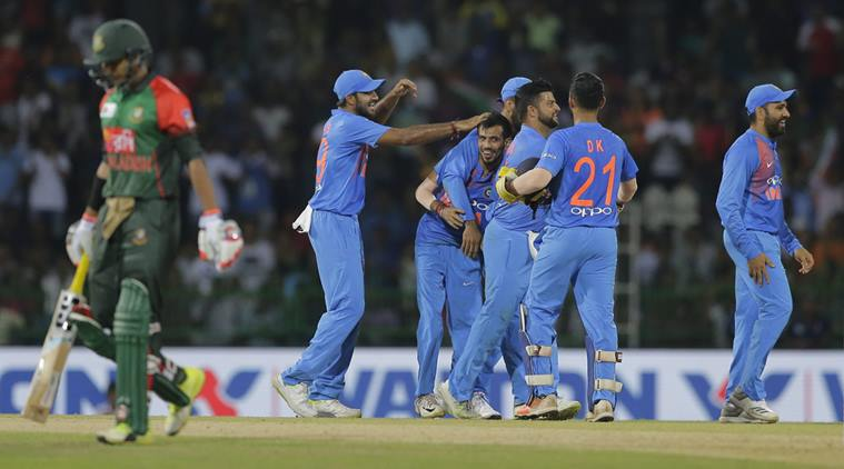 Indian players celebrate after dismissal one of the Bangladesh wicket during the NIdahas Trophy T20 final between India and Bangladesh at the R?Premadasa Stadium in Colombo on Sunday.