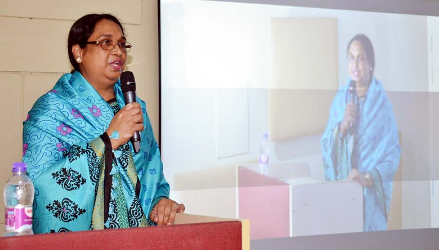 Dr Nasim Banu, Professor of the Department of Development Studies of Islamic University, Kushtia speaks at a seminar on 'Exchanging Real Experience of Research and Teaching' held at Begum Rokeya University, Rangpur on Thursday.