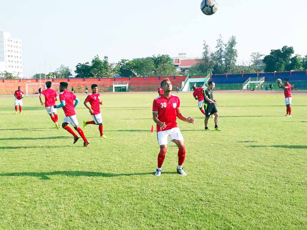 Members of Bangladesh National Football team during their practice session at Bangkok, the capital city of Thailand on Tuesday.