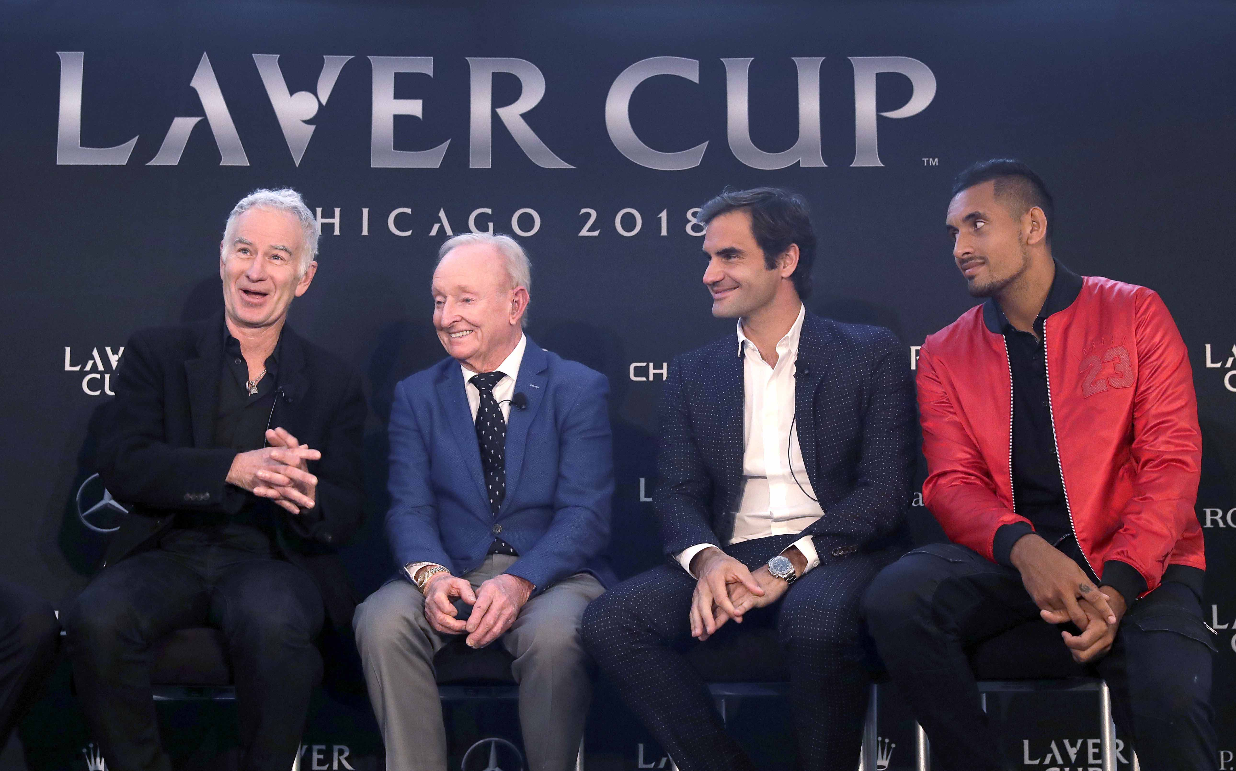 John McEnroe (left) responds to a question while promoting the Laver Cup tennis tournament with Rod Laver (second from left), Roger Federer and Nick Kyrgios Monday in Chicago.