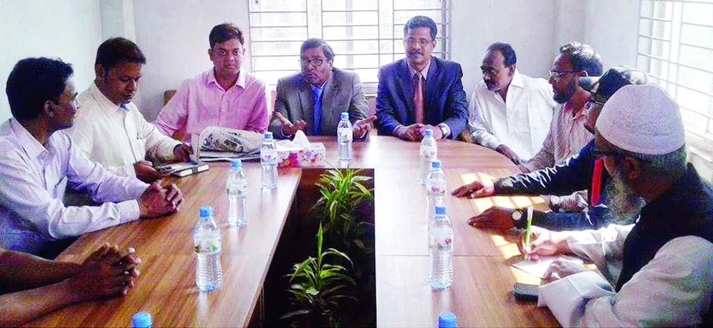 FULPUR (Mymensingh):  Mahbub Talukder, EC speaking at a view exchange meeting with journalists at  Fulpur Upazila Press club yesterday.
