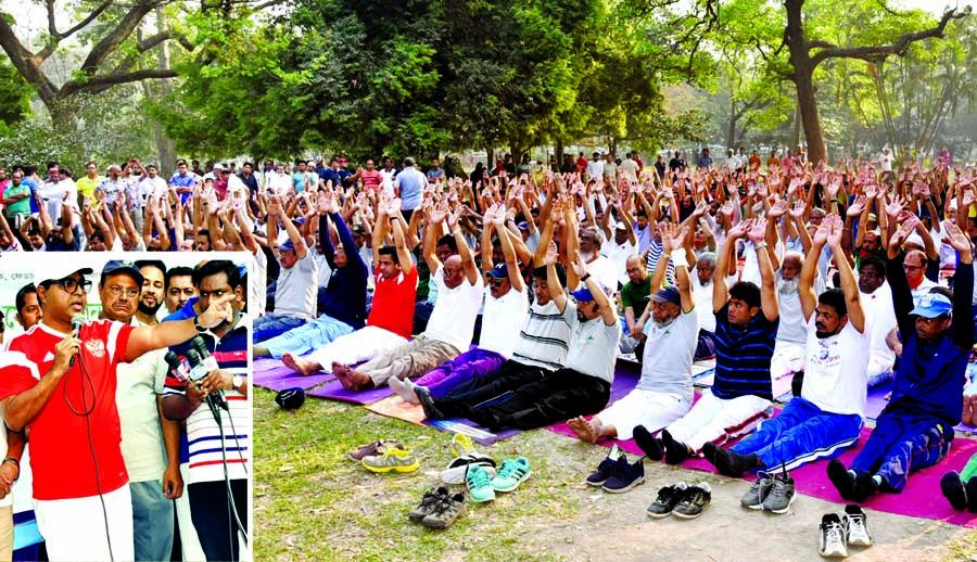Mayor of Dhaka South City Corporation Sayeed Khokon inaugurated the yoga programme organised by Federation of Workers Association at Ramna Park in the city on Wednesday.