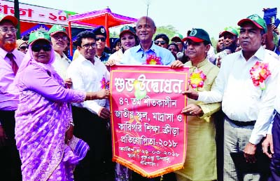 BARISAL: Education Minister Nurul Islam Nahid inaugurating the 47th Athletics and Sports Competition of national school, madrasa and technical institution level  organised  at  Bangabandhu Udyan on Wednesday.