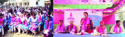 GANGACHARA (Rangpur): Jarin Yasmin Chaity, Assistant Professor, Begum Rokeya University speaking at a youth awareness programme against child marriage at Gangachara Model  High School on Wednesday.