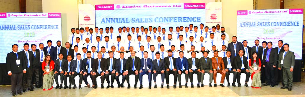 Arifur Rahman, Managing Director of Esquire Electronics Limited, (sole distributor of Japan's electronics brands SHARP, GENERAL, MITSUBISHI) poses with participants of its Annual Sales Conference-2018 at a hotel in Cox's Bazar recently. High officials of the company were also present.