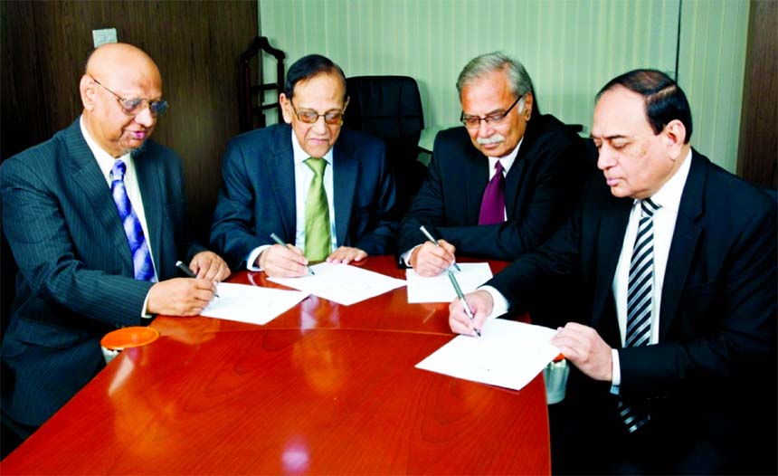 Asoke Das Gupta, Vice Chairman, A.S.M. Shahidullah Khan, Syed Nurul Amin, Directors and M. Fakhrul Alam, Managing Director of ONE Bank Limited signed the Bank's Audited Financial Statements for the year ended December 2017 recently.
