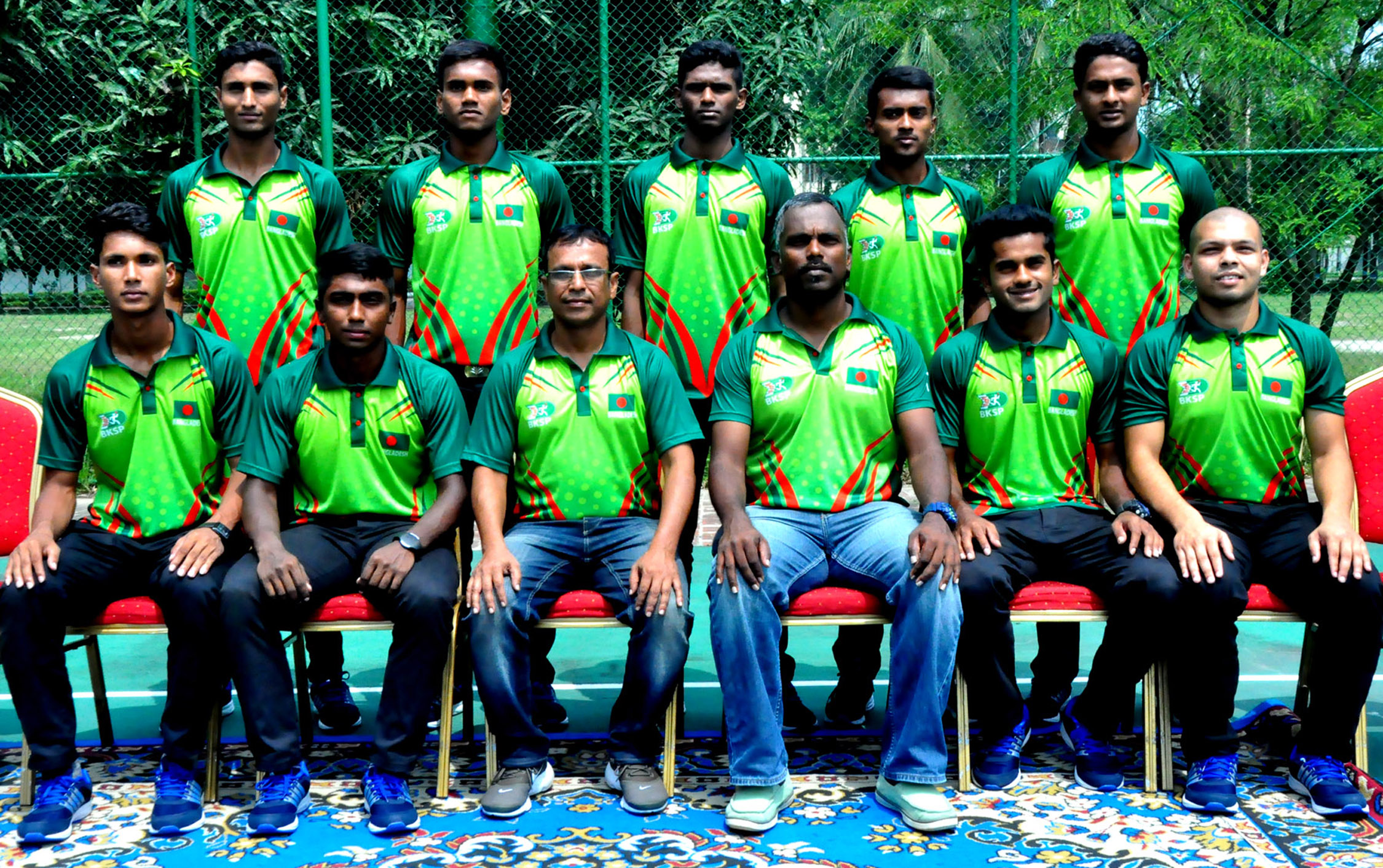 The Thailand-bound Bangladesh Hockey team pose for photo at the Falcon Hall of Bangladesh Air Force Office in the city's Tejgaon on Wednesday.