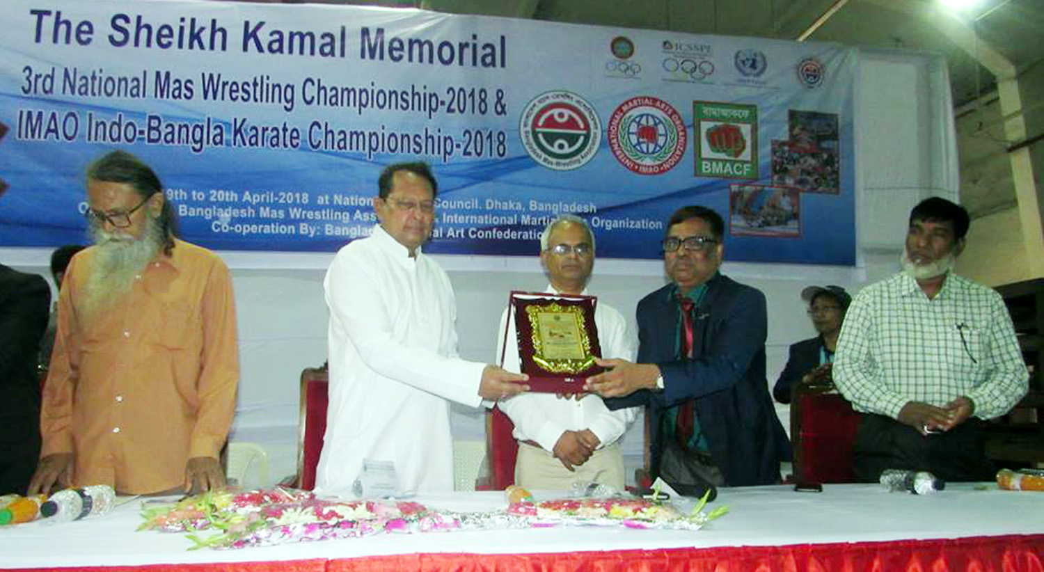 Minister for Information Hasanul Haq Inu, MP, speaking at the inaugural ceremony of the Sheikh Kamal Memorial 3rd National Mas-Wrestling Championship as the chief guest at the National Sports Council on Thursday.