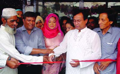 BHALUKA (Mymensingh): Md Tariqul Azam, Additional Managing Director (Credit), Standard Bank Ltd inaugurating  first show room of Apollo Shoe of  women enterpreneur  Rohima Afroz Shefale at Bhaluka Upazila recently.