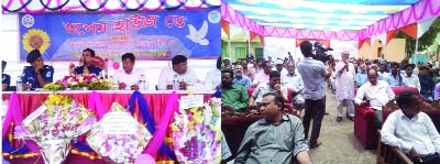 KISHOREGANJ: Md Mashrukur Rahman Khaled, SP, Kishoreganj speaking at the Open Houses Day function  at Sadar Model Thana premises on Tuesday.