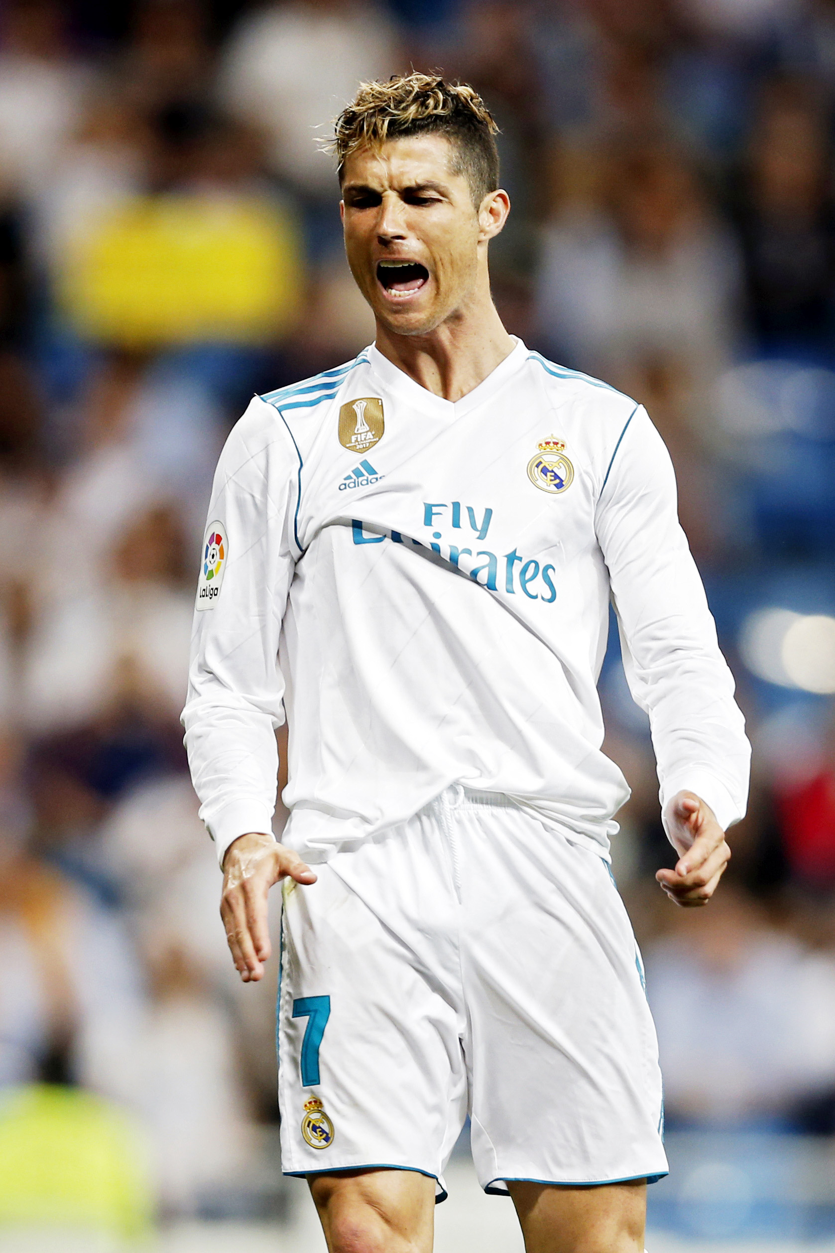 Real Madrid's Cristiano Ronaldo gestures during a Spanish La Liga soccer match between Real Madrid and Athletic Bilbao at the Santiago Bernabeu stadium in Madrid on Wednesday.