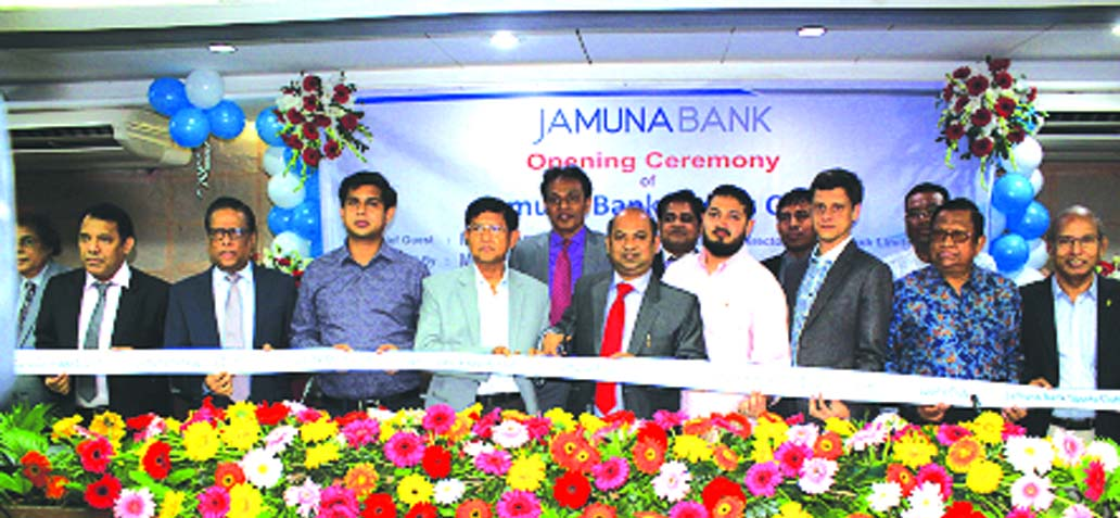 Gazi Golam Dastagir MP, Director of Jamuna Bank Limited, inaugurating its Sports Club at its head office in the city recently. Md.Ismail Hossain Siraji, Chairman, Shafiqul Alam, Managing Director, Gazi Golam Murtoza, Redwan ul Karim Ansari, Robin Razon Sakhawat, Md. Rafiqul Islam and Narayan Chandra Saha, Directors of the bank were also present.