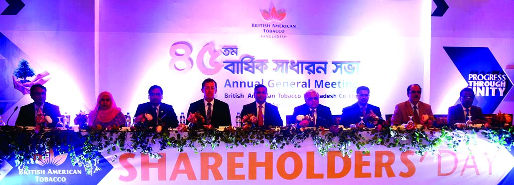 Golam Moinuddin, Chairman of British American Tobacoo Bangladesh Company Limited, presiding over its 45th Annual General Meeting at a hotel in the city on Tuesday.  Shehzad Munim, Managing Director, BAT Bangladesh, Board of Directors comprising of  Mohammad Moinuddin Abdullah, KH Masud Siddiqui, Mikail Shipar,  Muhammad Abdullah, Tahmina Begum and Kazi Sanaul Hoq and Company Secretary Md. Azizur Rahman, FCS were present.