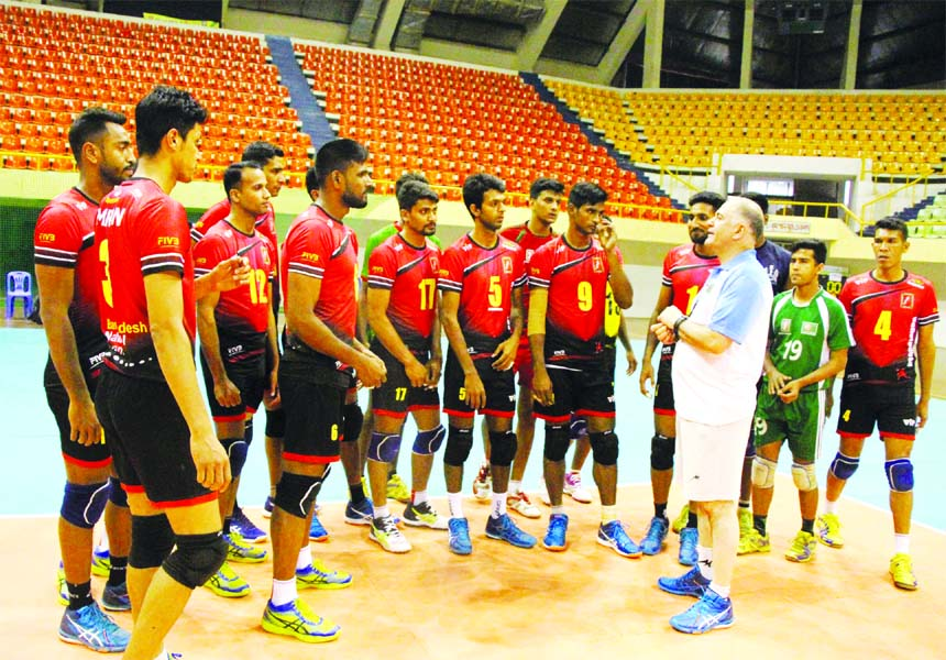 Members of Bangladesh National Volleyball team during their practice session at the Shaheed Suhrawardi Indoor Stadium in the city's Mirpur on Friday.