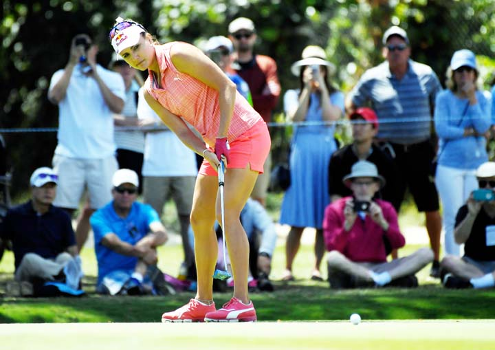 Lexi Thompson putts on the second hole during the third round of the LPGA Tour's HUGEL-JTBC LA Open golf tournament at Wilshire Country Club on Saturday in Los Angeles.