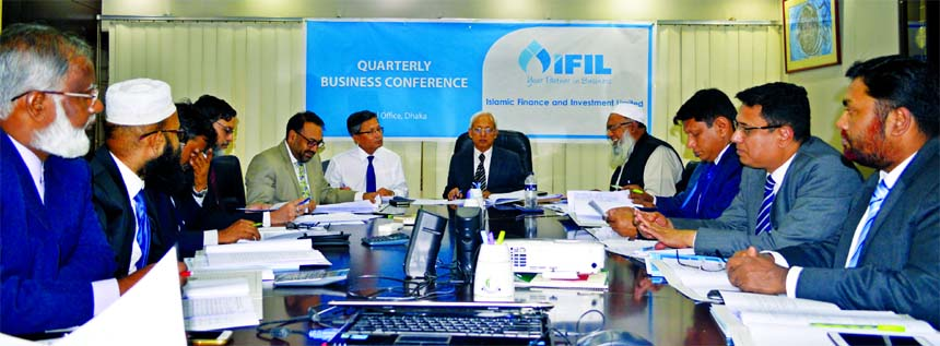 Abul Quasem Haider, Board of Directors Chairman of Islamic Finance and Investment Limited (IFIL), presiding over its two-day long Quarterly Business Conference at its head office in the city recently. SM Bakhtiar Alam, EC Chairman and Mohammad Ruknuzzaman, Managing Director (CC) of the organization were also present.