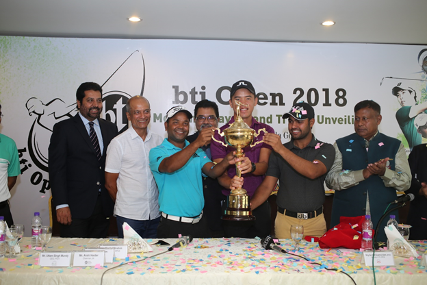 (Left to right)) Uttam Mundy, CEO, PGTI; Arshi Haider, Chairman of bti; Siddikur Rahman, Professional Golfer; Asif Ibrahim, President, BPGA; Johnson Poh, Professional Golfer, Honey Baisoya, Professional Golfer  unveiling the bti Open 2018 Trophy on Monday.