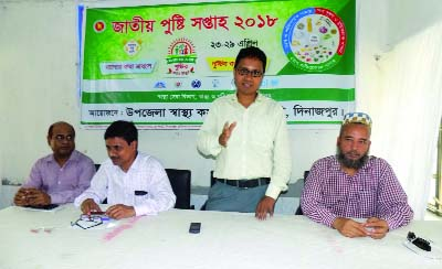 DINAJPUR(South): Md Abdus Salam Chowdhury, UNO, Fulbari Upazila speaking at a discussion meeting on the occasion of the National Nutrition Week on Monday.
