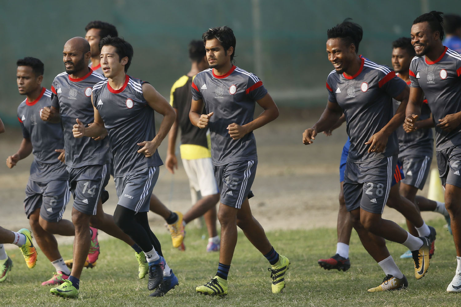 Members of Dhaka Abahani Limited during their practice session at the Abahani Ground on Tuesday.