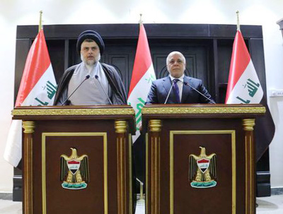 Cleric Sadr meets Iraq PM Abadi, hinting at coalition