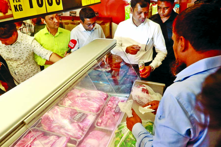 BSTI mobile team led by a magistrate in a  drive at 'Swapna' Departmental Store at Banani yesterday fined Tk 10 lakh for selling beef at Tk 550 per KG ignoring City Corporation fixed price Tk 450. This photo was taken on Sunday.