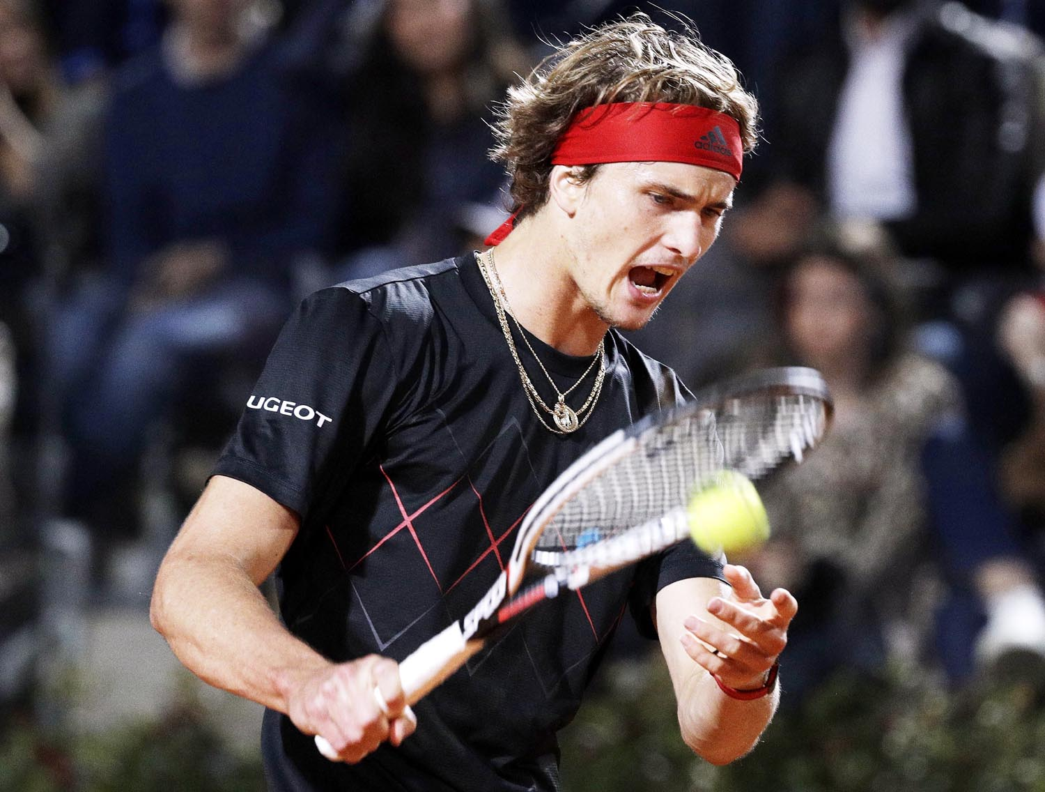 Germany`s Alexander Zverev reacts after winning a point to Croatia's Marin Cilic during their semifinal match at the Italian Open tennis tournament in Rome on Saturday.