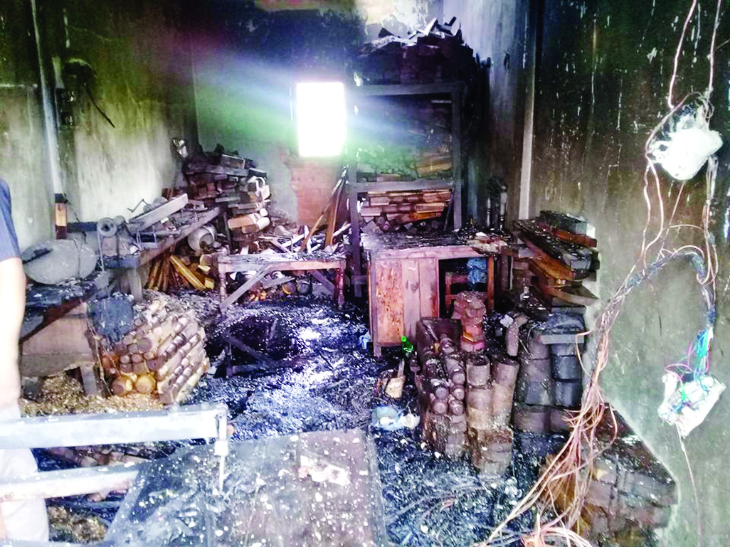KULAURA (Moulvibazar): A devastating fire gutted eight shops at  Kulaura Poura town on Tuesday.