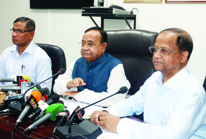 Railway Minister M Muzibul Hoque addressing a Press Conference on Thursday at Railway Bhaban regarding advance rail tickets for homebound passengers for Eid-ul-Fitr.